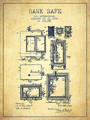Silver Drawing - 1894 Bank Safe Patent - Vintage by Aged Pixel