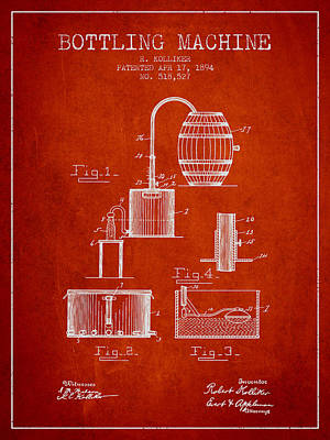 Wall Art Drawing - 1894 Bottling Machine Patent - Red by Aged Pixel