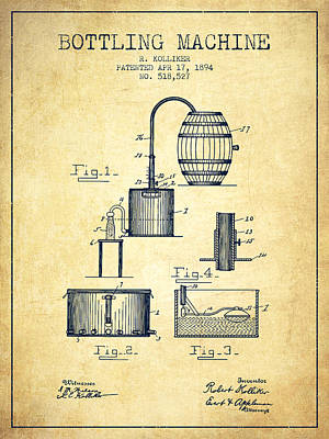 Beer Drawing - 1894 Bottling Machine Patent - Vintage by Aged Pixel
