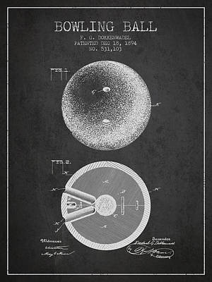 1894 Bowling Ball Patent - Charcoal Print by Aged Pixel