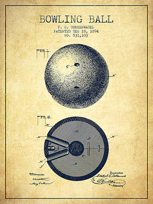 1894 Bowling Ball Patent - Vintage Print by Aged Pixel