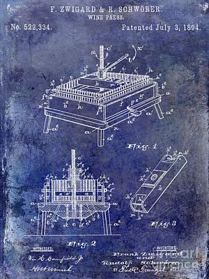 1894 Wine Press Patent Blue Print by Jon Neidert