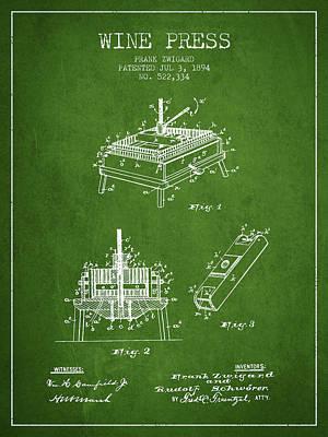 Wine Barrel Drawing - 1894 Wine Press Patent - Green by Aged Pixel