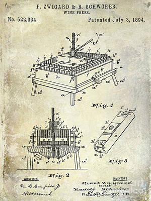 1894 Wine Press Patent Print by Jon Neidert