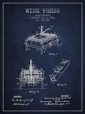 1894 Wine Press Patent - Navy Blue Print by Aged Pixel