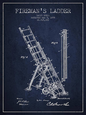 1895 Firemans Ladder Patent - Navy Blue Print by Aged Pixel