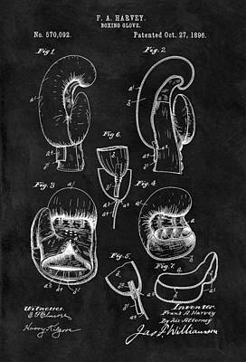 1896 Boxing Glove Patent Illustration Print by Dan Sproul