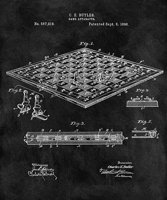 Knight Mixed Media - 1896 Chessboard Patent by Dan Sproul
