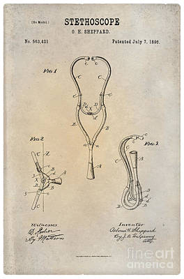 Historic Home Drawing - 1896 Stethoscope Patent Art Sheppard 1 by Nishanth Gopinathan