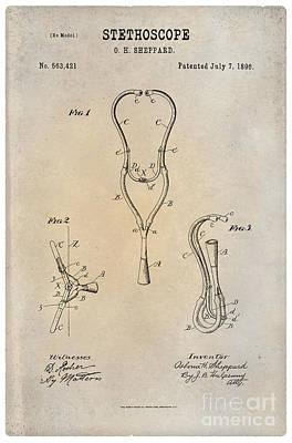 1896 Stethoscope Patent Art Sheppard 1 Print by Nishanth Gopinathan