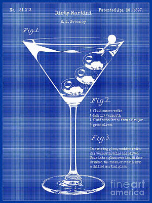 Martini Photograph - 1897 Dirty Martini Blueprint by Jon Neidert