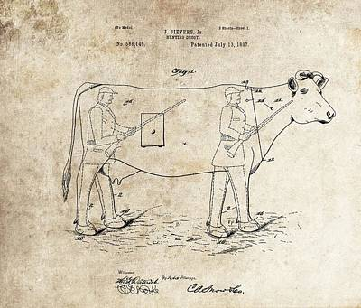 Cow Mixed Media - 1897 Hunting Decoy Patent by Dan Sproul