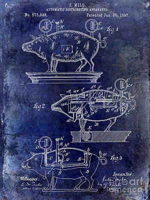 1897 Pig Patent Drawing Blue Print by Jon Neidert