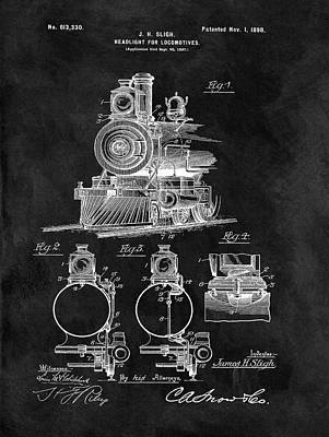 Train Mixed Media - 1898 Locomotive Headlight Patent by Dan Sproul