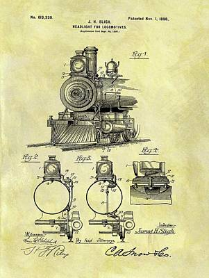 Train Mixed Media - 1898 Locomotive Patent by Dan Sproul