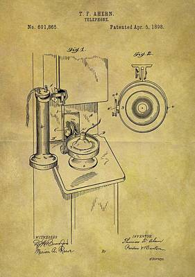1898 Telephone Patent Print by Dan Sproul