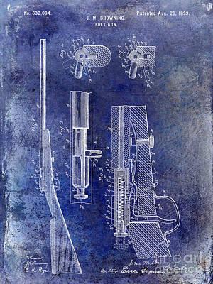1899 Photograph - 1899 Bolt Gun Patent Blue by Jon Neidert