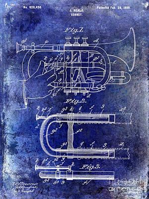 Marching Band Photograph - 1899 Cornet Patent Blue by Jon Neidert