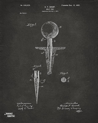Putting Drawing - 1899 Golf Tee Patent Artwork - Gray by Nikki Marie Smith