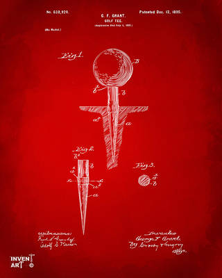 Golf Drawing - 1899 Golf Tee Patent Artwork Red by Nikki Marie Smith