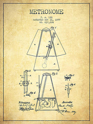 Music Drawing - 1899 Metronome Patent - Vintage by Aged Pixel