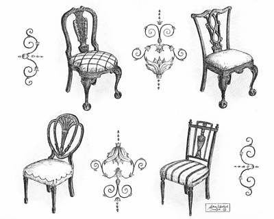 Ink Drawing Drawing - 18th Century English Chairs by Adam Zebediah Joseph