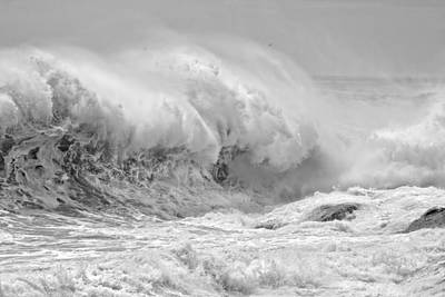 Black And White Large Waves Near Pemaquid Point On The Coast Of  Print by Keith Webber Jr