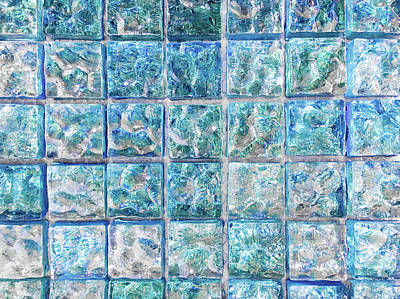 Marble Mosaic Photograph - Blue Tiles by Tom Gowanlock