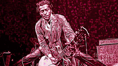 Retro Mixed Media - Chuck Berry Collection by Marvin Blaine