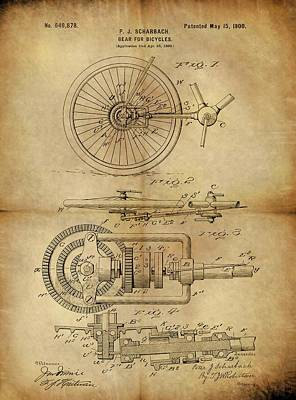 Bicycle Drawing - 1900 Bicycle Gear Patent by Dan Sproul