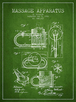 Healthy Drawing - 1900 Massage Apparatus Patent - Green by Aged Pixel
