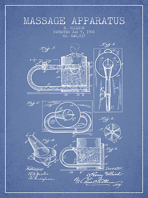 Healthy Drawing - 1900 Massage Apparatus Patent - Light Blue by Aged Pixel