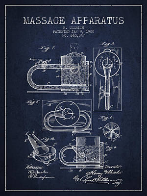 Healthy Drawing - 1900 Massage Apparatus Patent - Navy Blue by Aged Pixel