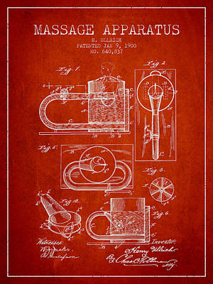 Healthy Drawing - 1900 Massage Apparatus Patent - Red by Aged Pixel