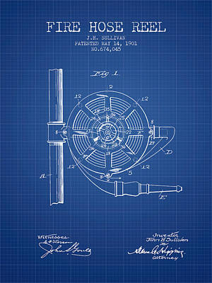 1901 Fire Hose Reel Patent - Blueprint Print by Aged Pixel