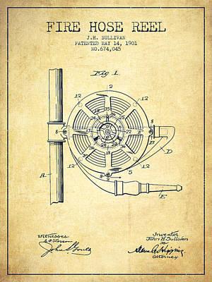1901 Fire Hose Reel Patent - Vintage Print by Aged Pixel