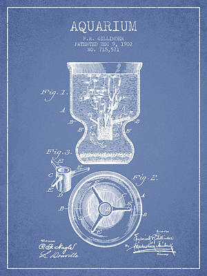 Turtle Drawing - 1902 Aquarium Patent - Light Blue by Aged Pixel