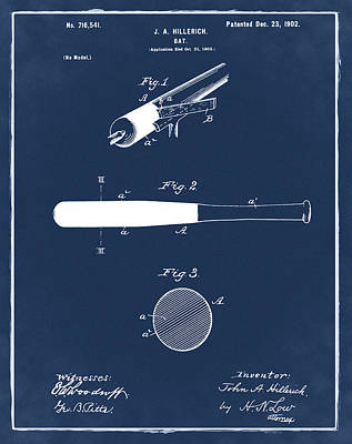 1902 Baseball Bat Patent In Blue Print by Bill Cannon