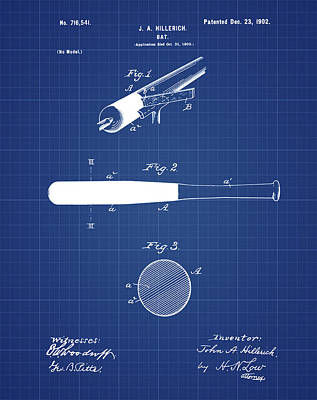 1902 Baseball Bat Patent In Blueprint Print by Bill Cannon