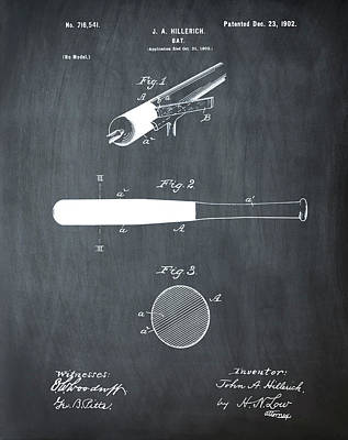 1902 Baseball Bat Patent In Chalk Print by Bill Cannon