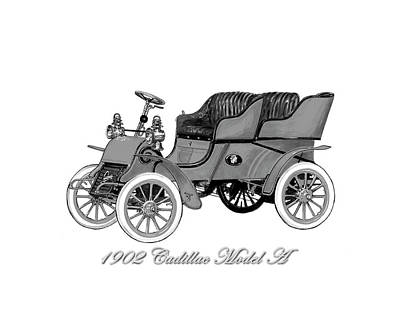 Horseless Carriages Painting - 1902 Cadillac Model A  by Jack Pumphrey