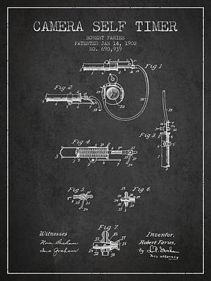 1902 Camera Self Timer Patent - Charcoal Print by Aged Pixel