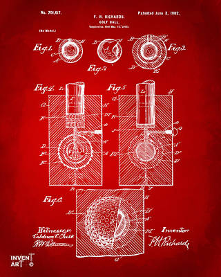 Concepts Drawing - 1902 Golf Ball Patent Artwork Red by Nikki Marie Smith