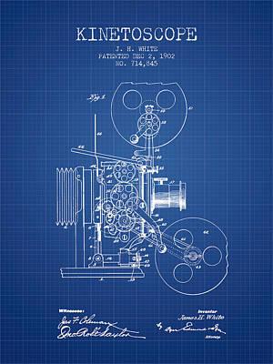 Camera Drawing - 1902 Kinetoscope Patent - Blueprint by Aged Pixel