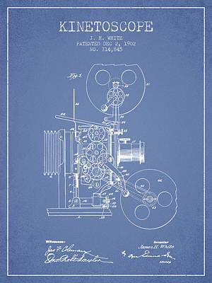1902 Kinetoscope Patent - Light Blue Print by Aged Pixel