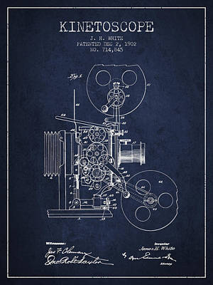 Camera Drawing - 1902 Kinetoscope Patent - Navy Blue by Aged Pixel