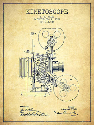 Camera Drawing - 1902 Kinetoscope Patent - Vintage by Aged Pixel