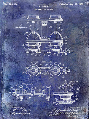 1902 Locomotive Truck Patent Blue Print by Jon Neidert