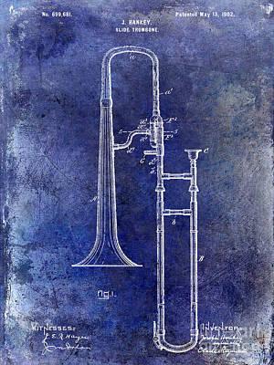 Trombone Photograph - 1902 Trombone Patent Blue by Jon Neidert