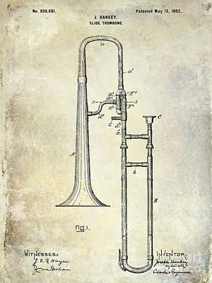 Trombone Photograph - 1902 Trombone Patent by Jon Neidert